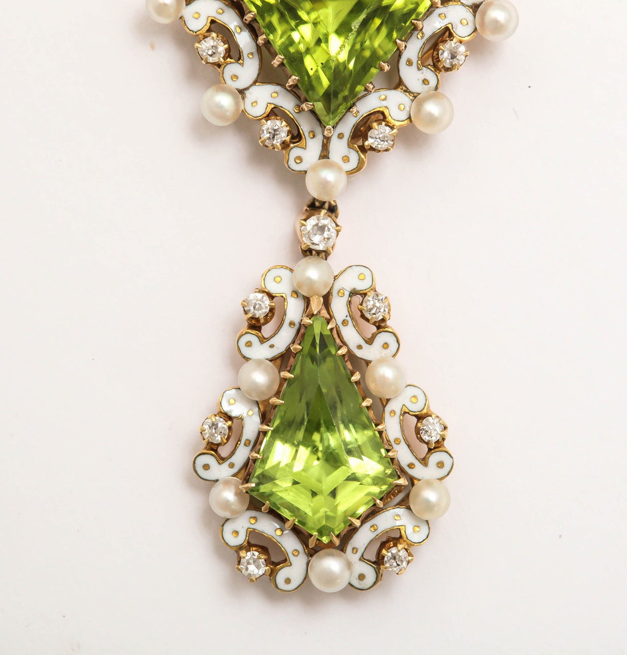 Edwardian Enamel Peridot Pearl Diamond Gold Drop Necklace For Sale 3