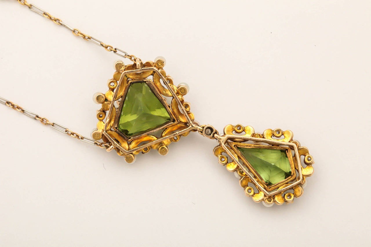 Edwardian Enamel Peridot Pearl Diamond Gold Drop Necklace For Sale 5