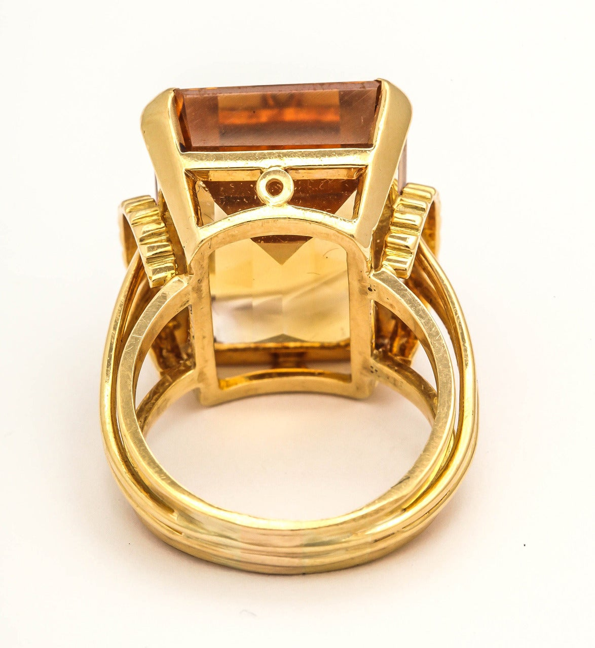 English Retro Citrine 18k Gold Cocktail Ring, 1950s For Sale 2