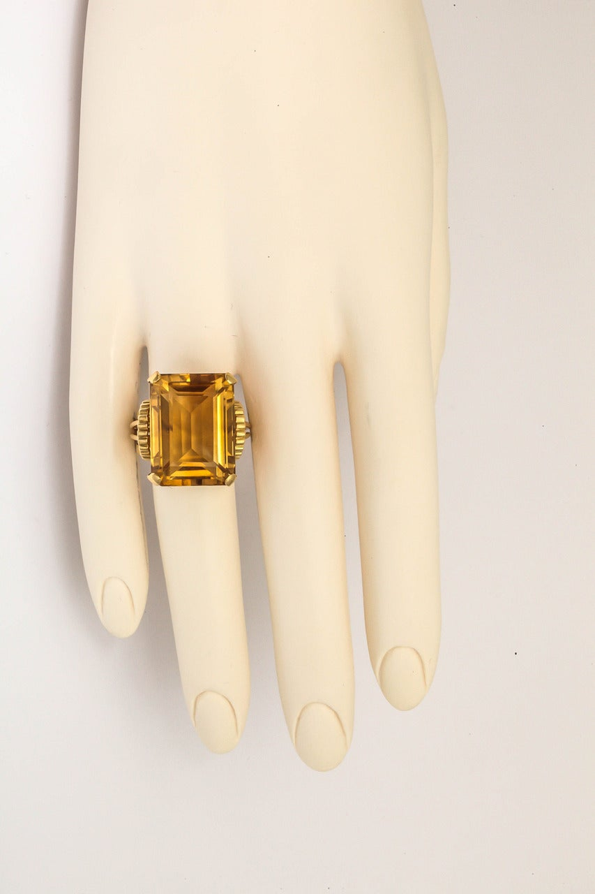 Square Cut English Retro Citrine 18k Gold Cocktail Ring, 1950s For Sale