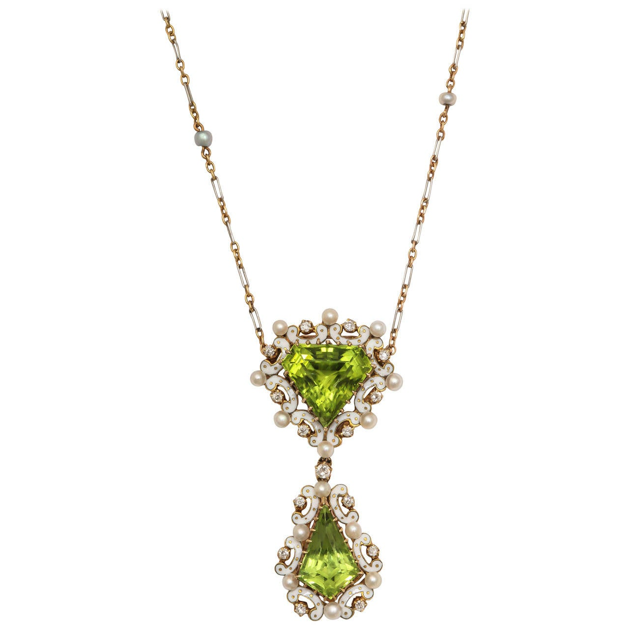 Edwardian Enamel Peridot Pearl Diamond Gold Drop Necklace 10
