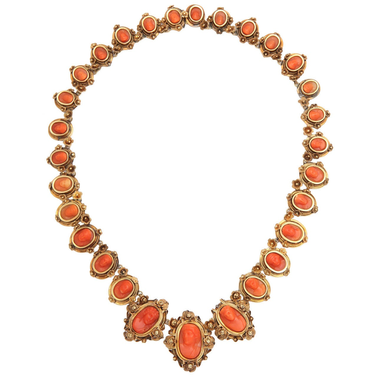 1870s Carved Coral Gold Link Necklace For Sale 5