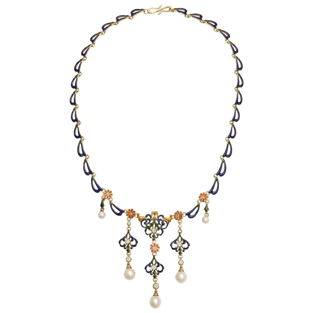 French Enameled Pearl Diamond Gold Byzantine Style Necklace For Sale 5