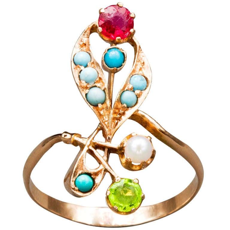 Art Nouveau Floral Gem Ring