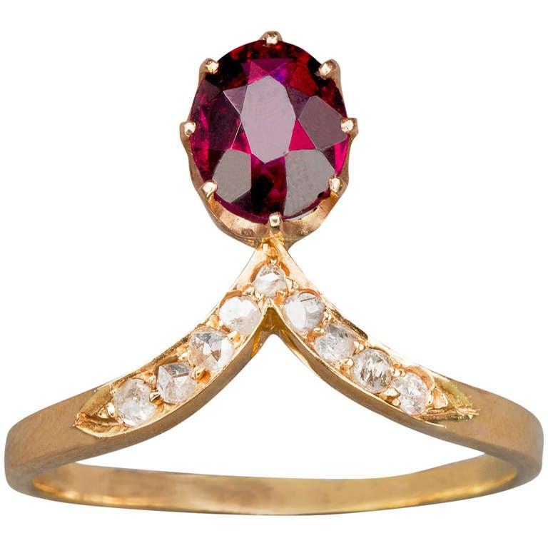 Russian Garnet Diamond Ring 1
