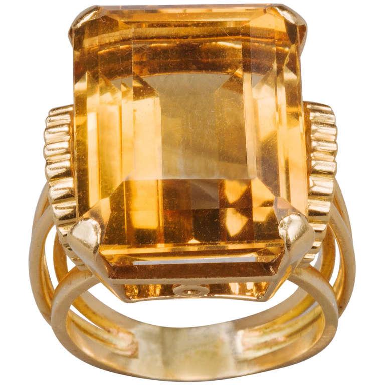 English Retro Citrine 18k Gold Cocktail Ring, 1950s