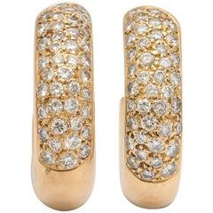 20th Century French Diamond 18k Gold Hoop Earrings, Paris