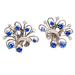 Sapphire Diamond Platinum Floral Spray Earrings