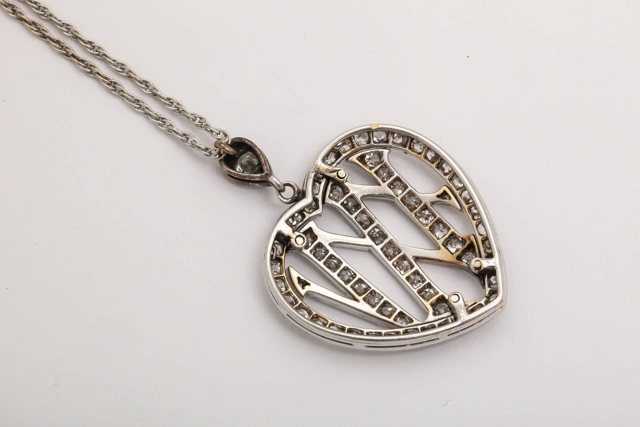 1910 Edwardian Diamond Gold Platinum 25th Anniversary Pendant For Sale 5