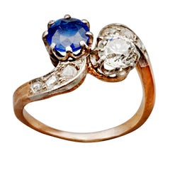 Antique 1890s French Sapphire Diamond Silver Gold Engagement Ring