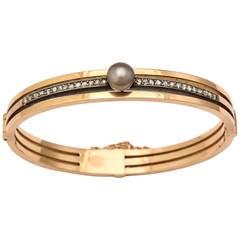 1880s French Diamond Gold Bangle Bracelet