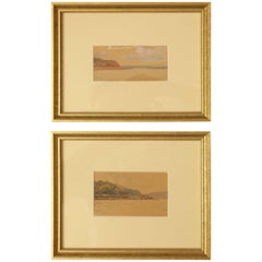 """The River Volga"" Two Russian Watercolor Studies by Nikolai Gritsenko"