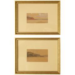 """The River Volga"" Two Watercolor Studies by Nikolai Gritsenko"