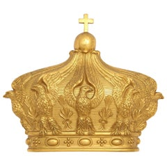 19th Century French Gilded Bronze Empress Eugenie Crown Wall Mount