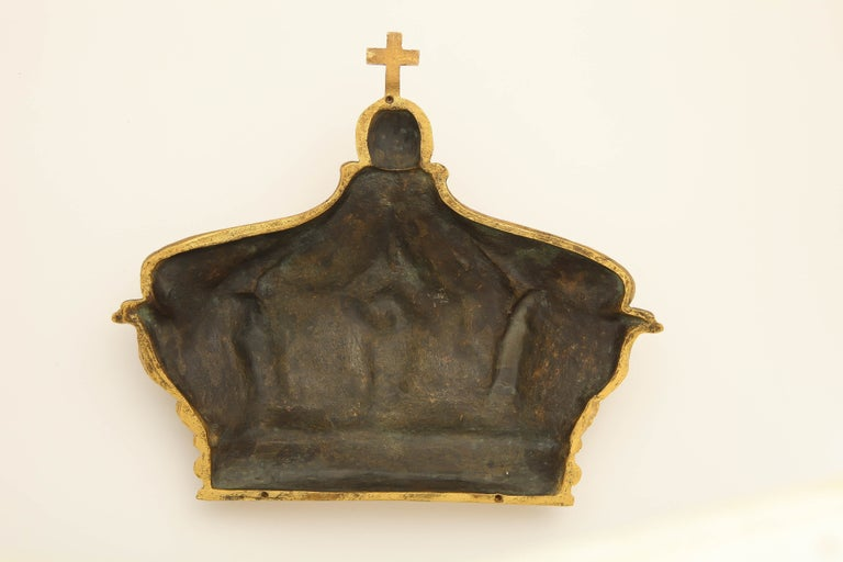 Women's or Men's 19th Century French Gilded Bronze Empress Eugenie Crown Wall Mount For Sale