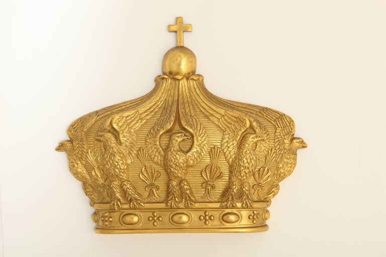 19th Century French Gilded Bronze Empress Eugenie Crown Wall Mount For Sale 1