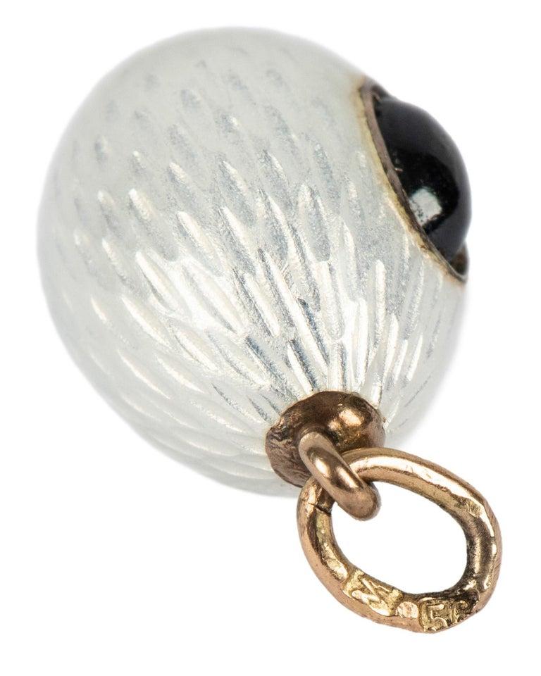 Russian Empire Russian White Enamel and Sapphire Egg Pendant, circa 1900 For Sale