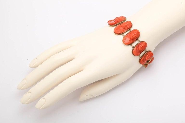 Victorian 19th Century Carved Coral Link Bracelet For Sale