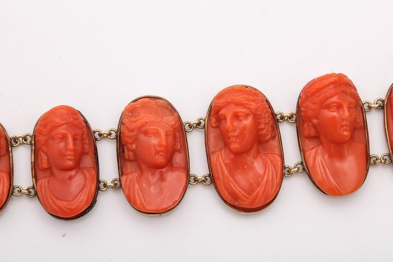 Women's 19th Century Carved Coral Link Bracelet For Sale