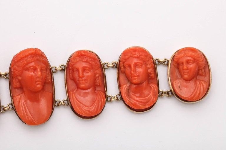 19th Century Carved Coral Link Bracelet For Sale 1