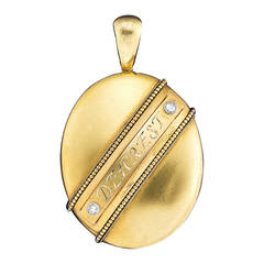 Antique 'Dearest' Diamond Gold Locket