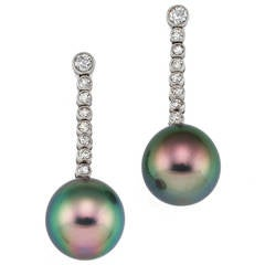 Kozminsky Beautiful Tahitian Pearl Diamond Gold Platinum Pendant Earrings
