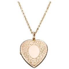 Antique Heart shaped Locket with Contemporary Gold Chain