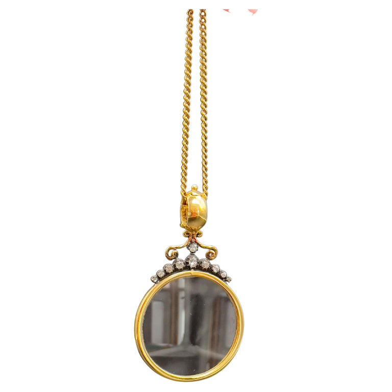 Victorian Monocle Magnifying Glass Diamonds Gold Pendant Necklace  For Sale