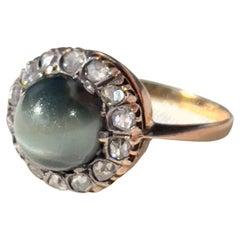 Victorian Chrysoberyl Diamond Gold Cats Eye Portuguese Cocktail Ring