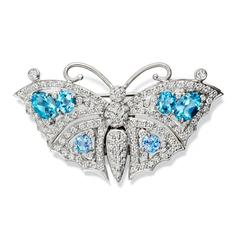 Beijing Sapphire Aquamarine Diamond Gold Butterfly Brooch