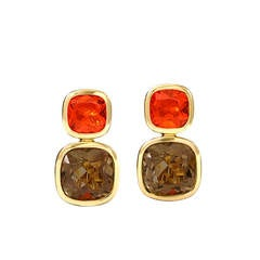 Cassandra Goad Qin and Han Smoky Quartz Fire Opal Gold Earrings