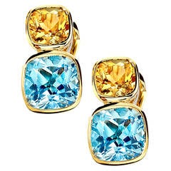 Citrine Blue Topaz Gold Qin and Han Earrings