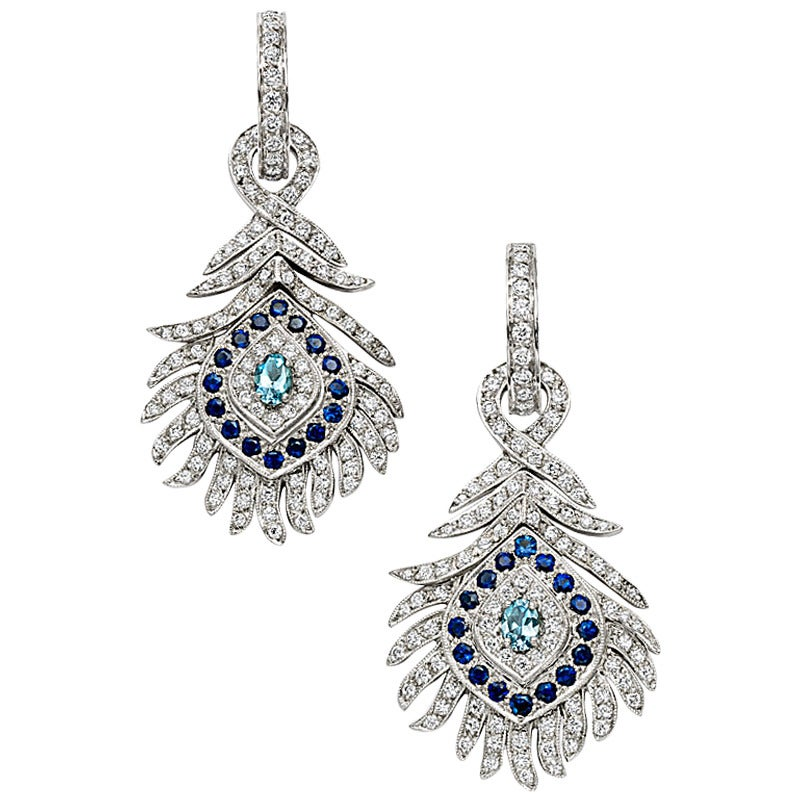 Peacock Aquamarine Sapphire Diamond Gold Chandelier Earrings