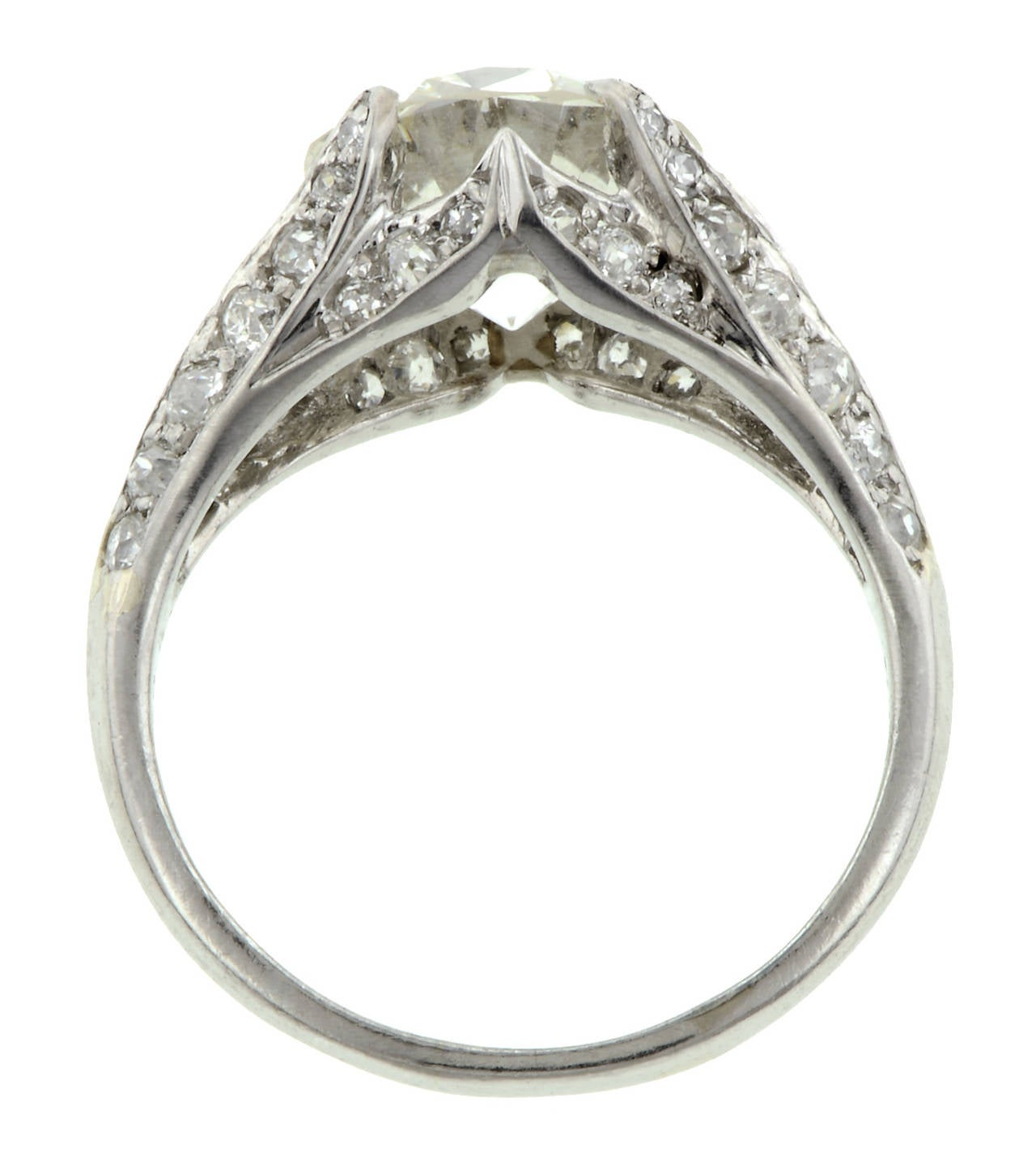 3 00 Carat Diamond Platinum Flamelike Motif Engagement Ring at 1stdibs