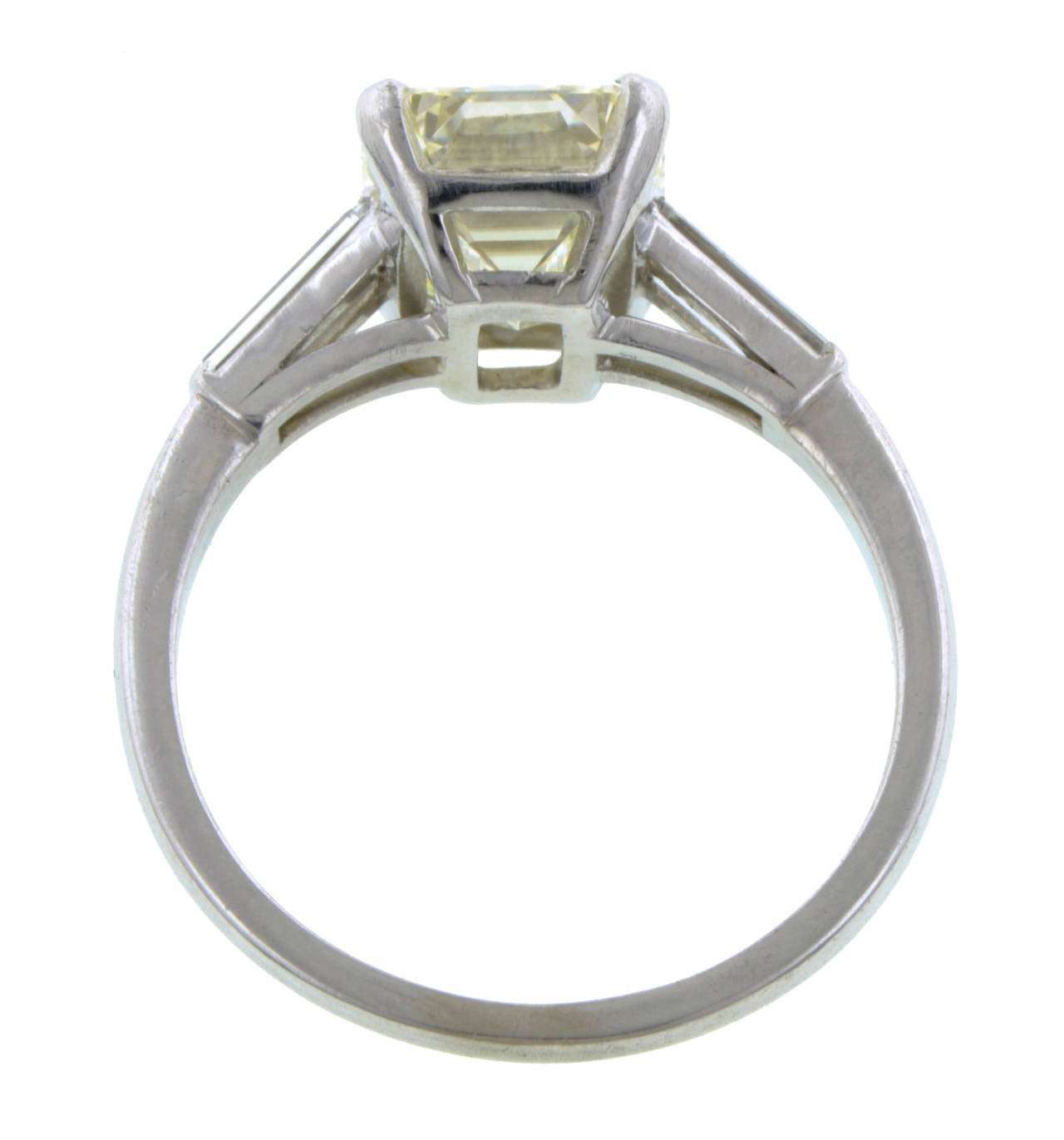 2 60 Carat Emerald Cut Diamond Platinum Engagement Ring at 1stdibs