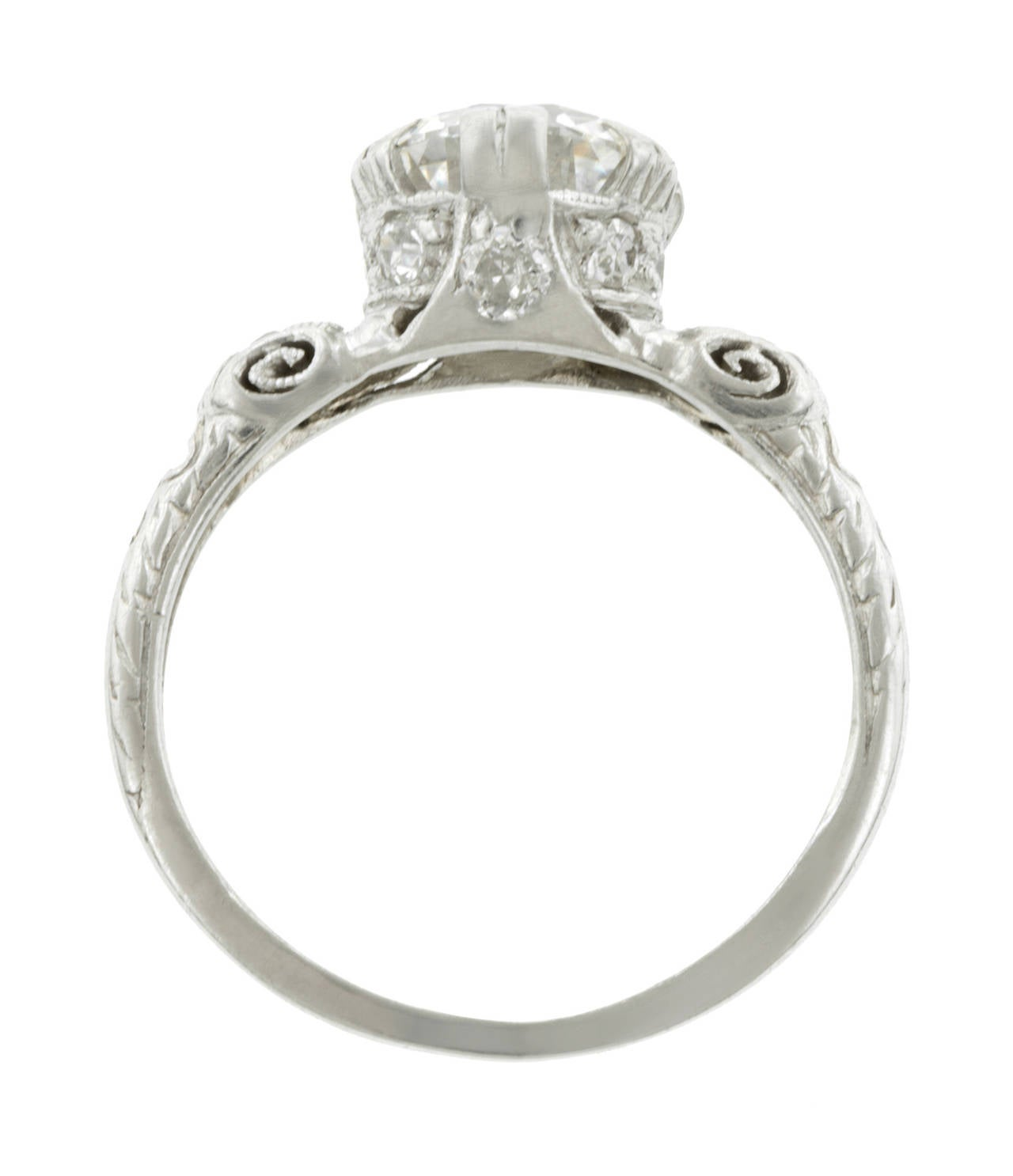 1950s Round Brilliant Cut 1 55 Carat Diamond Platinum Engagement Ring at 1stdibs