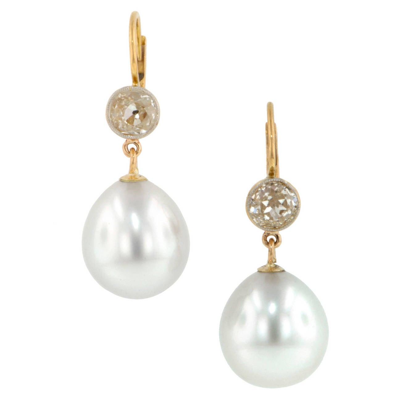Cultured Pearl Diamond Drop Earrings At 1stdibs