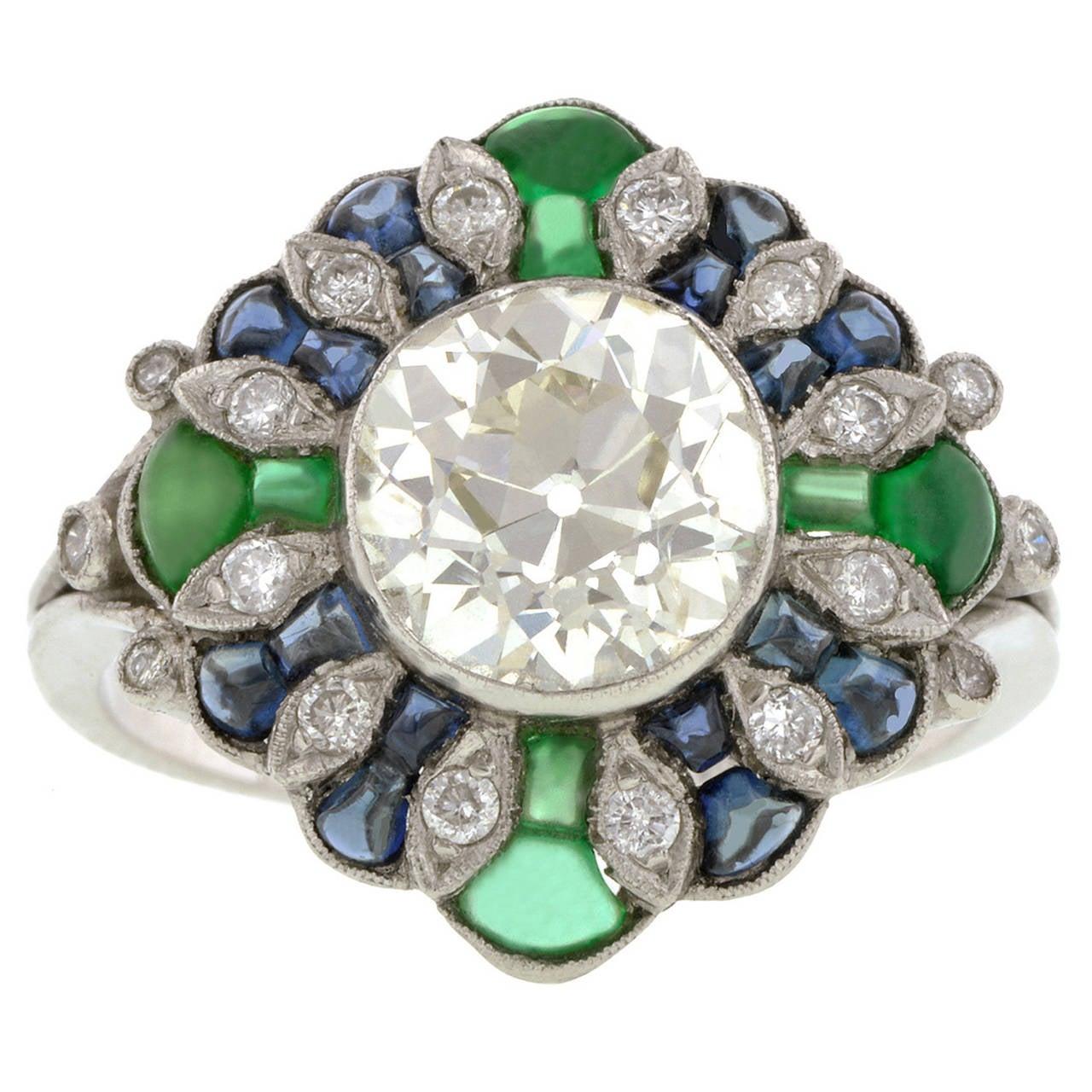 mine cut 2 33 carat sapphire emerald platinum