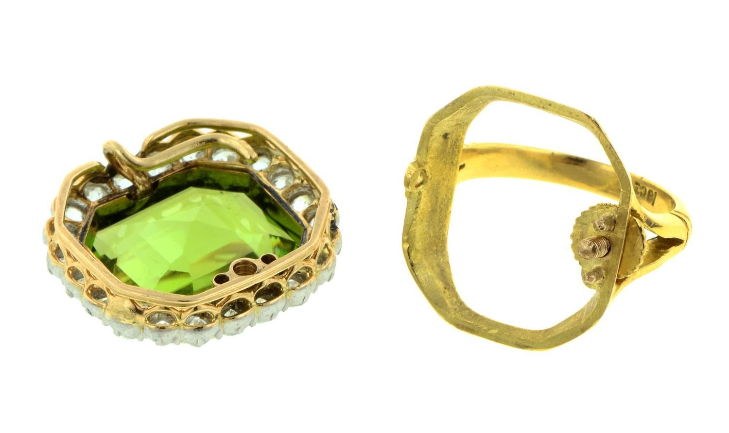 antique peridot silver gold convertible ring