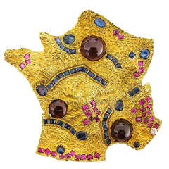 Cannes Map of France Gemstone Gold Pendant Brooch