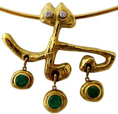 Masenza Roma Gold and Emerald Choker Attributed to Afro Basaldella, circa 1955