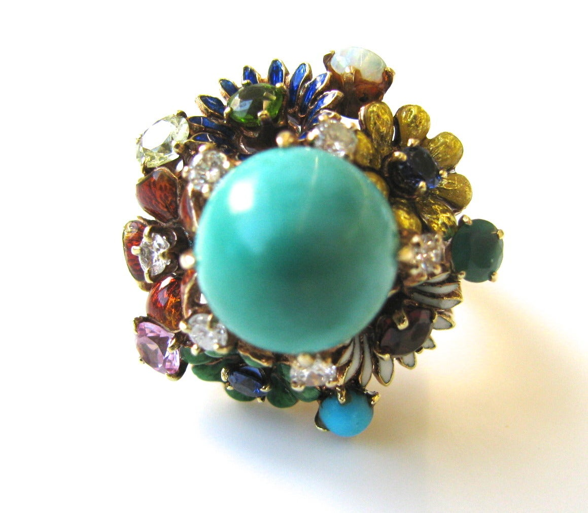 Turquoise Gemstone Enamel Gold Flower Ring at 1stdibs