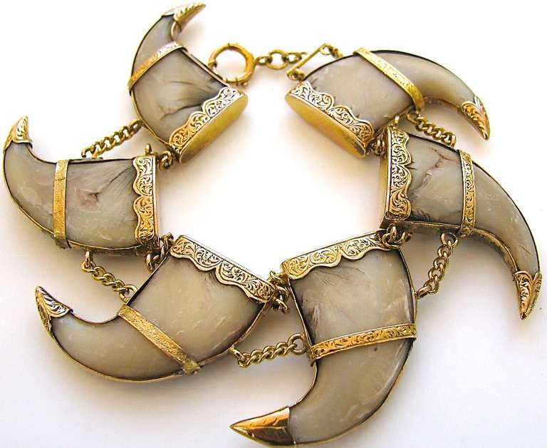 An Antique Gold And Tiger Claw Bracelet The 15 18k Yellow Engraved Mounts