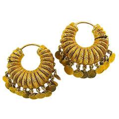 MId-Eastern Tribal Gold Earrings 20th c