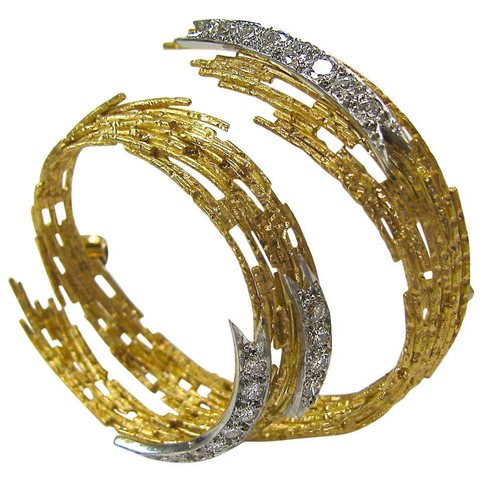 Andrew Grima Diamond Gold Brooch 1968 1