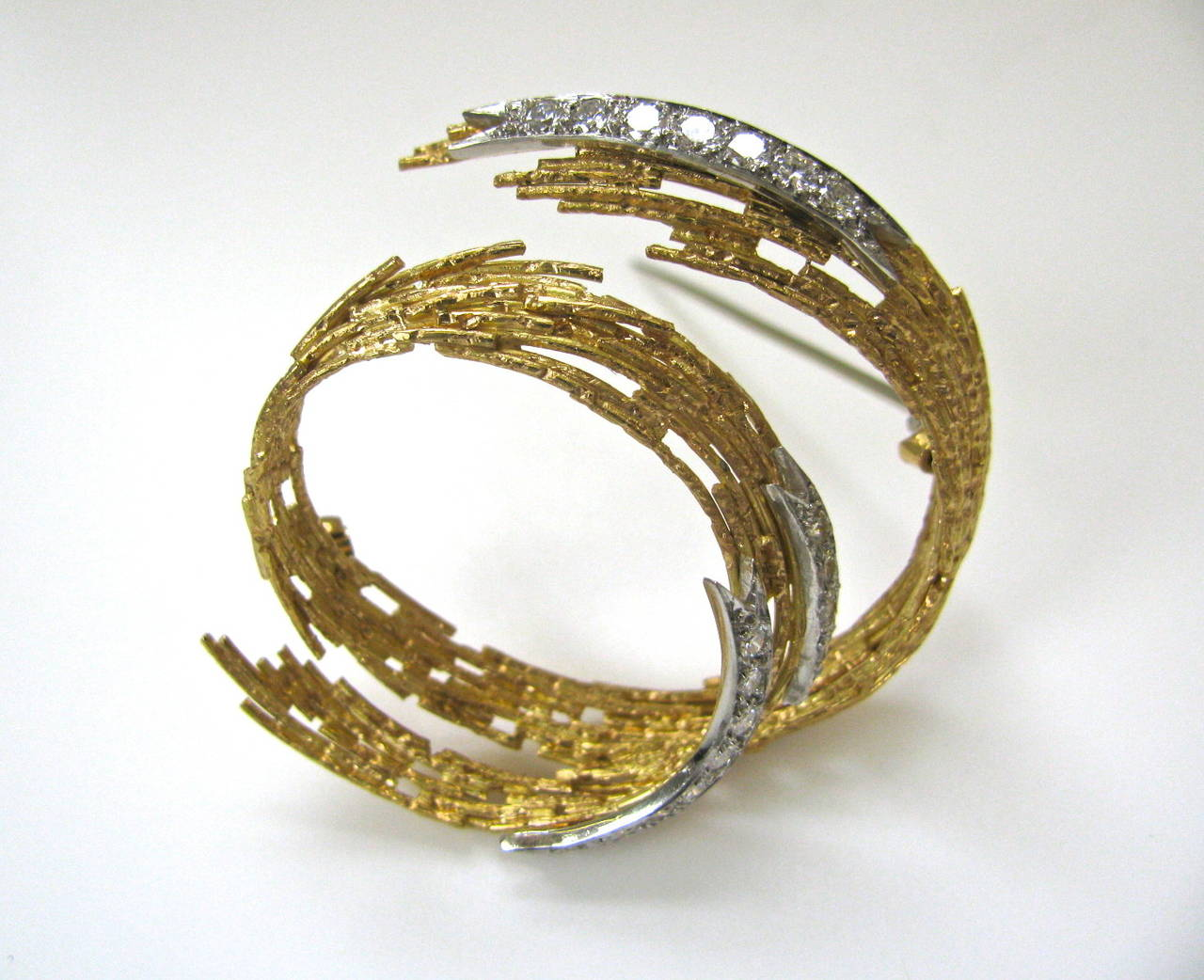 Andrew Grima Diamond Gold Brooch 1968 4