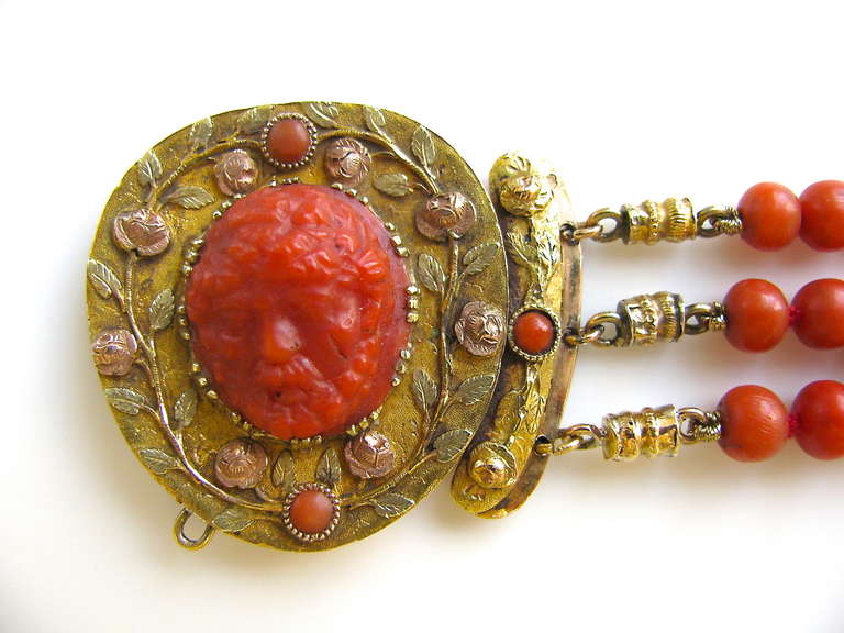 Women's An Antique Gold and Coral Bracelet For Sale