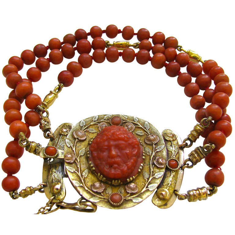 An Antique Gold and Coral Bracelet For Sale