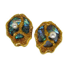 Gubelin Abalone Pearl Gold Shell Ear Clips