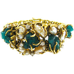 Pearl Emerald and Diamond Bracelet